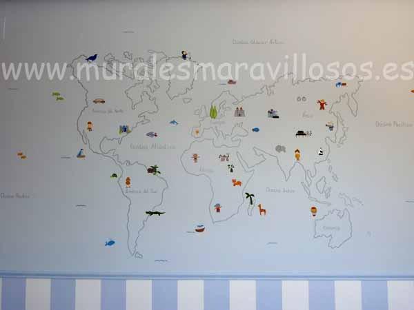 mural infantil de mapamundi pintado en pared