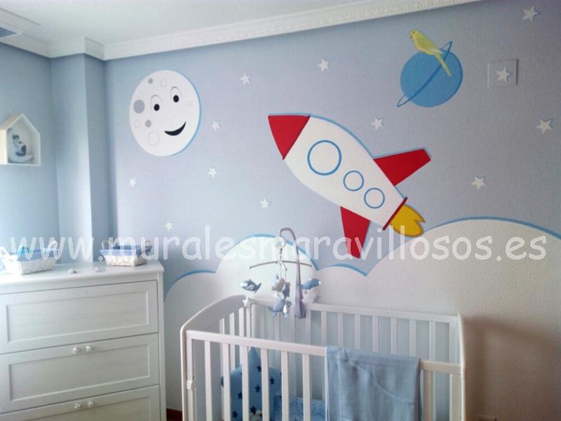 mural cohete nubes estrellas