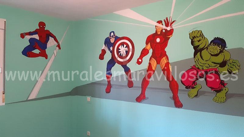 murales de superheroes marvel en habitaciones