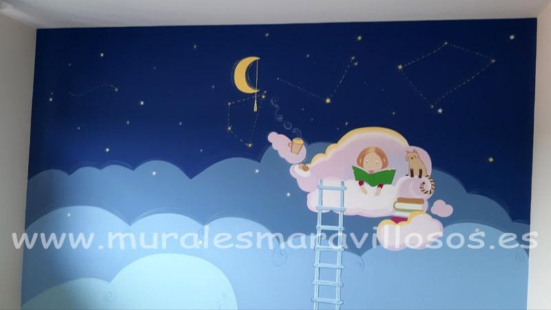 murales habitaciones infantiles estrellas y nubes