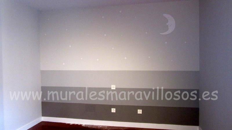 habitaciones infantiles grises estrellas