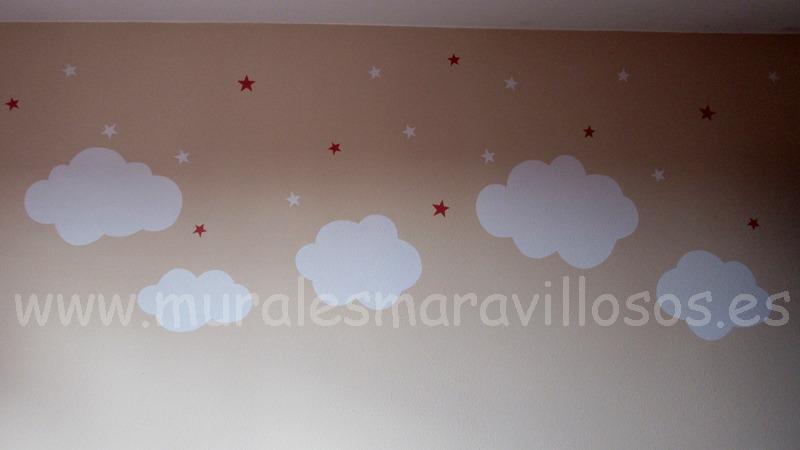 pintura estrellas nubes blancas