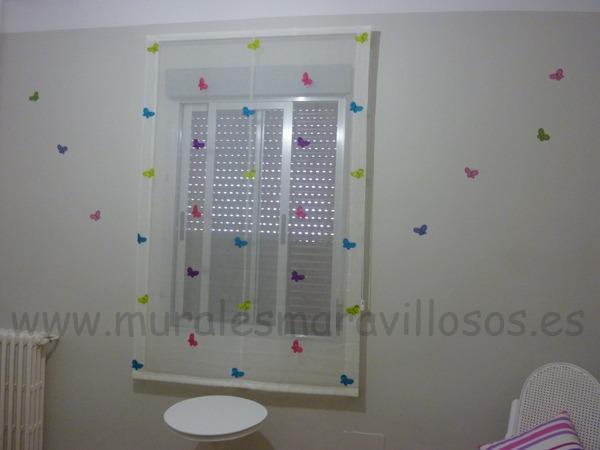 mural infantil habitacion mariposas