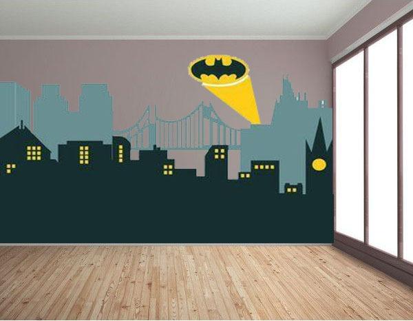 mural del superheroe batman en habitacion de chico