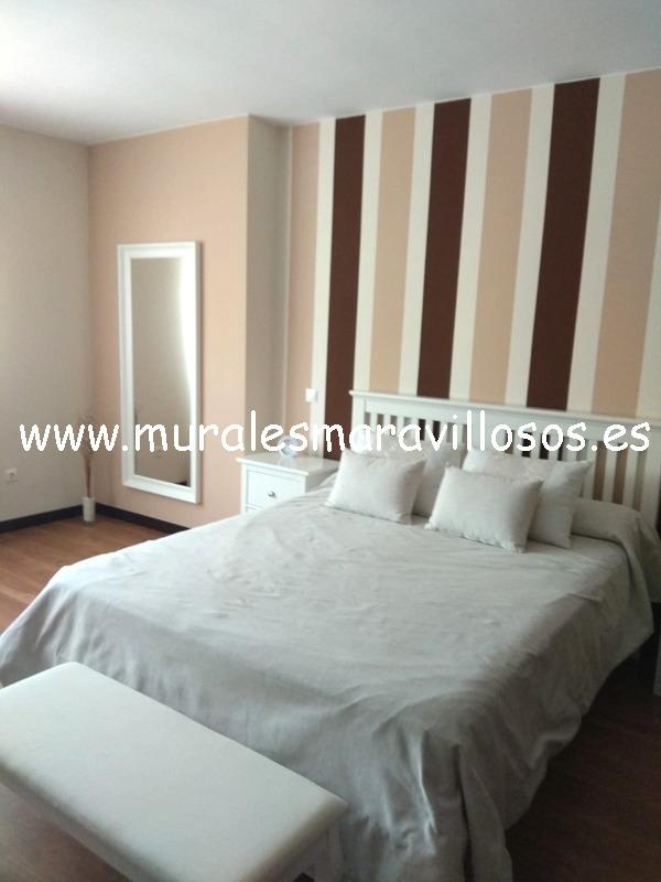 pintura dormitorio rayas marrones