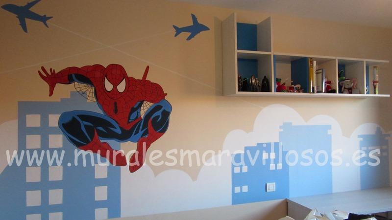 mural spiderman con edificios azules habitacion niño