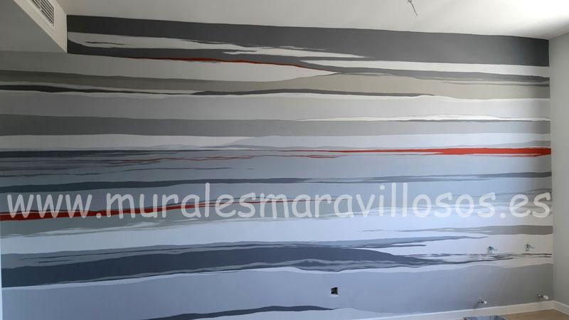 pintura original pared salon rayas grises