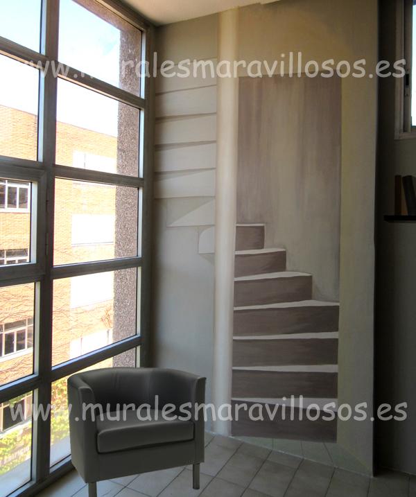 murales trampantojos paredes pintura escaleras