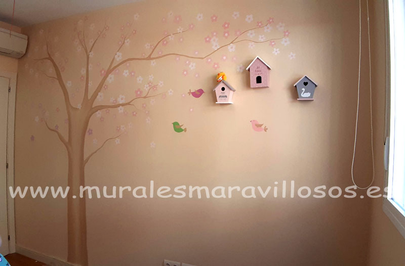 murales de arboles flores