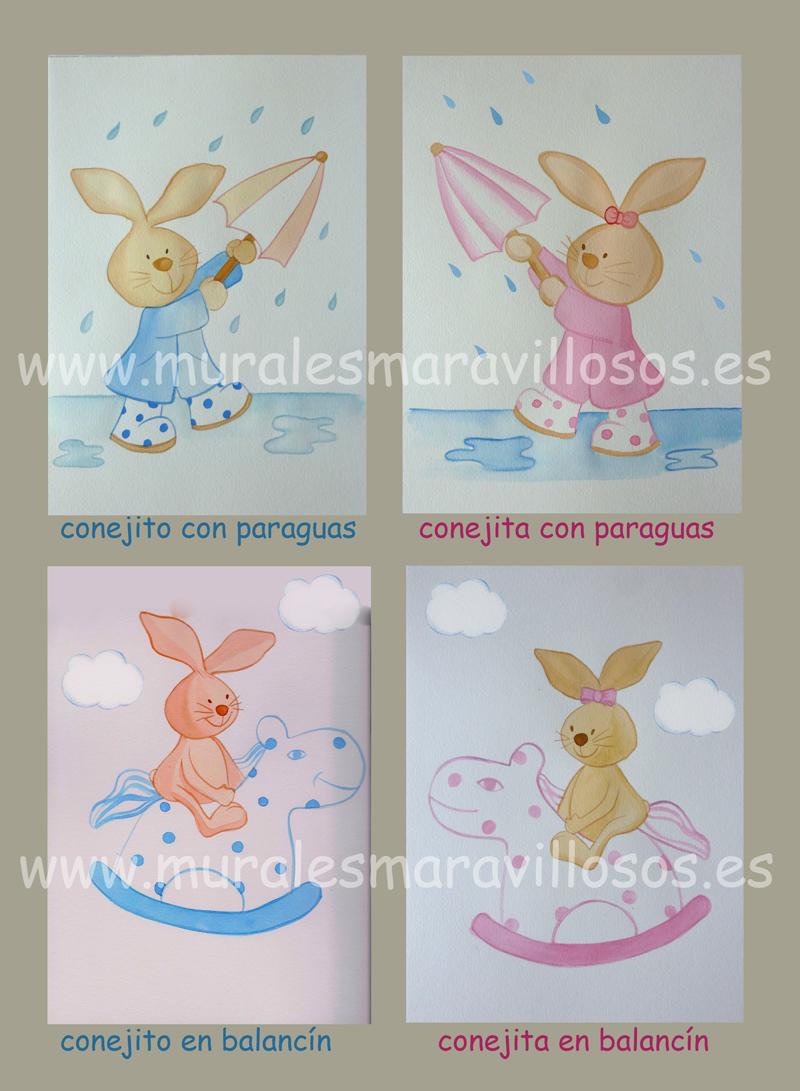 bocetos murales conejitos