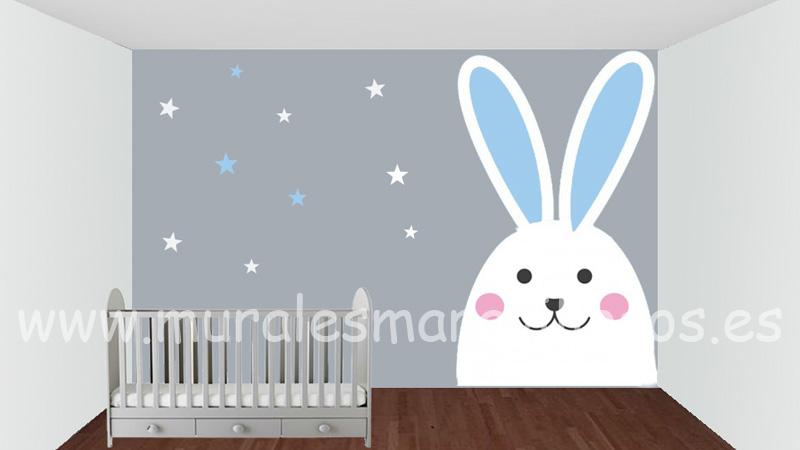 murales infantiles conejo blanco