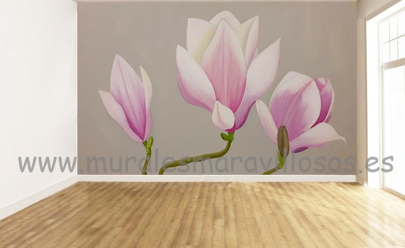 murales de flores pintados en paredes