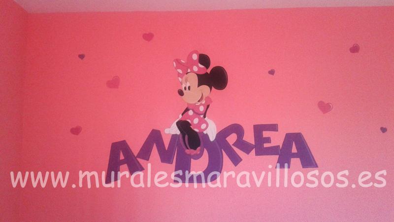 murales para niñas minnie nombre