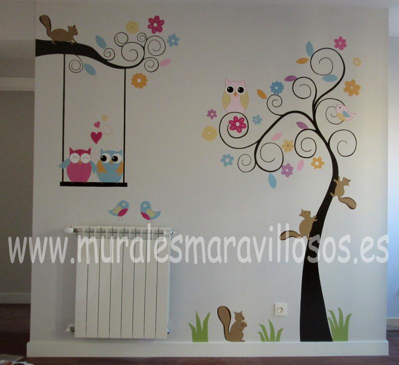 habitaciones infantiles pintura de arboles y animales
