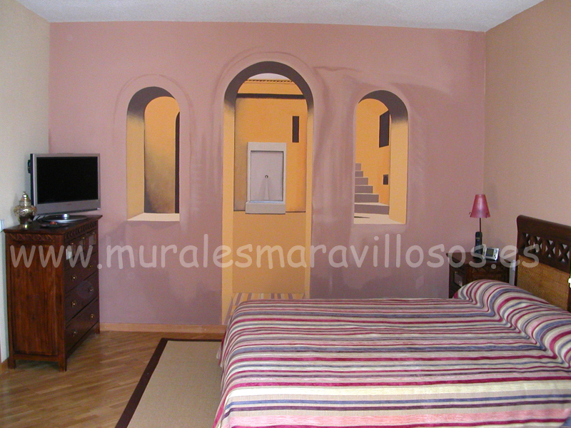 trampantojos murales pintados en paredes dormitorios