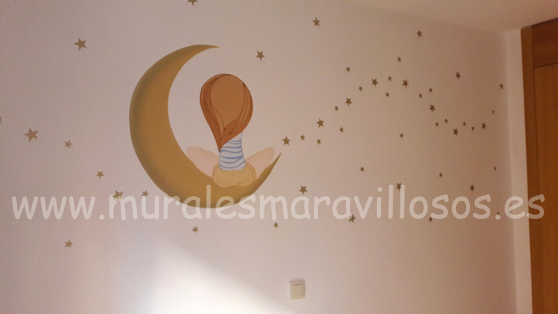 mural hada con luna y estrellas cuartos de niña