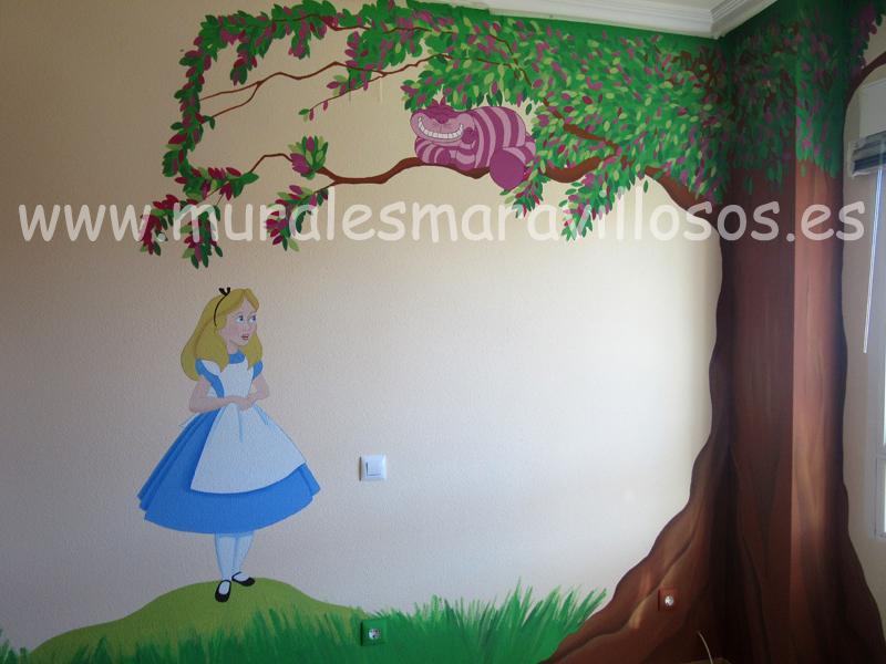 habitaciones alicia pais maravillas murales infantiles
