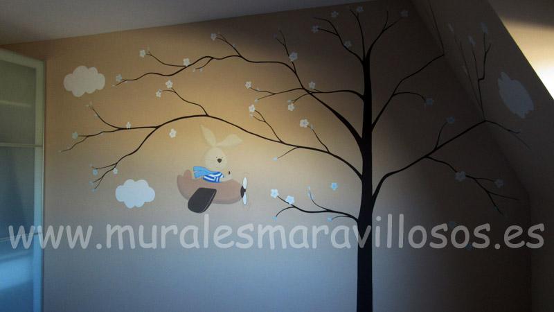 murales de arboles y conejitos