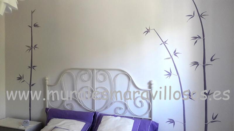 pintura bambus murales dormitorio paredes
