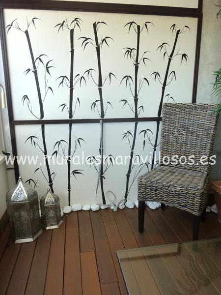 bambues pintados paredes terrazas