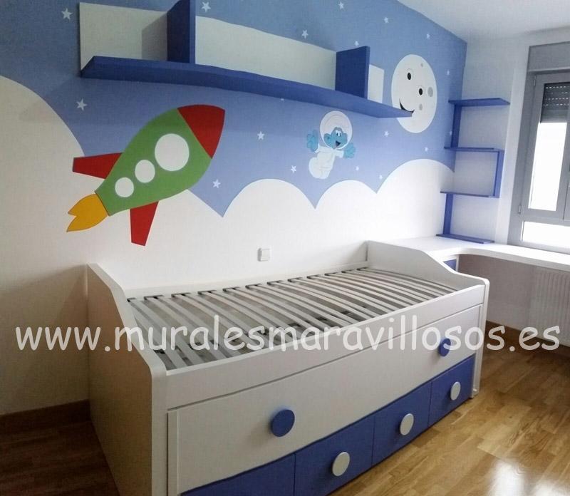 habitaciones niños pintadas murales espacio