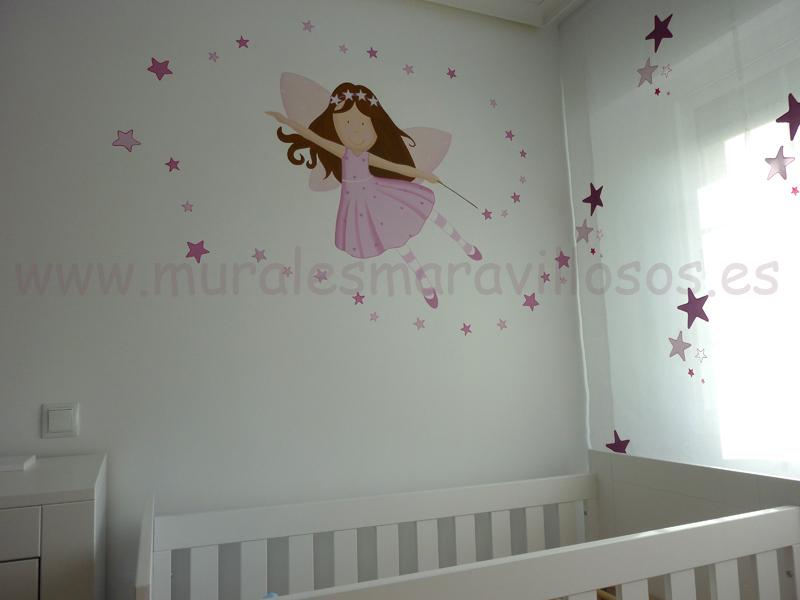 Murales de hadas en rosa con estrellas