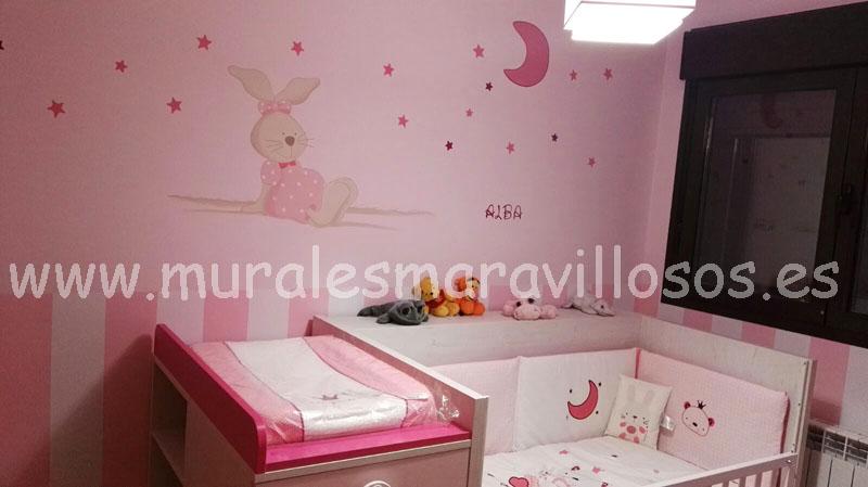 murales de conejitos en habitaciones rosas