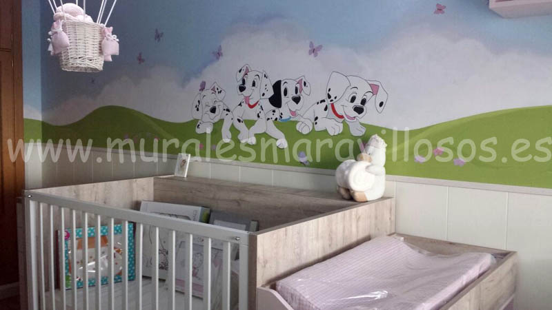 murales habitaciones infantiles dalmatas perritos bebes niños