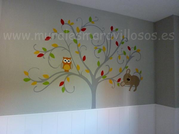 arboles pintados en cuartos niños buhos
