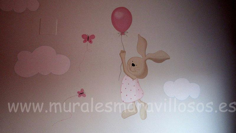 murales infantiles conejitos con globos