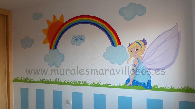 murales de hadas con arcoiris habitaciones de niña