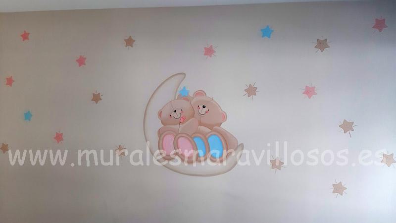 murales ositos  luna estrellas