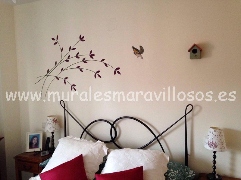 Ramas motivos vegetales mural cabecero paredes