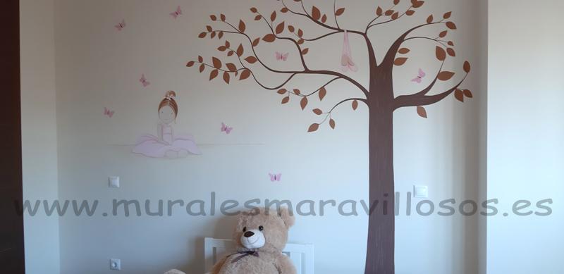 murales bailarinas ballet y arboles