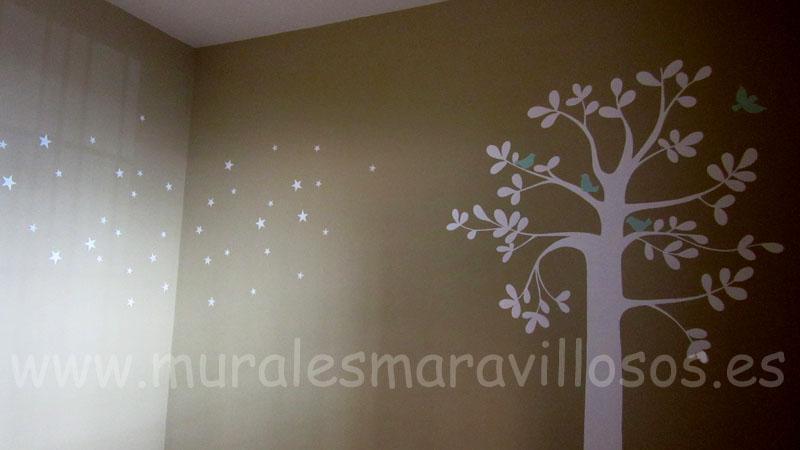 murales arboles blancos habitaciones