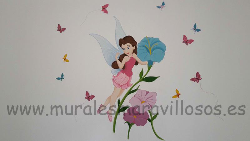 Murales de hadas y mariposas en habitaciones de niñas