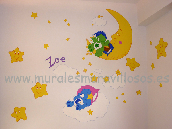 murales osos amorosos con luna estrellas
