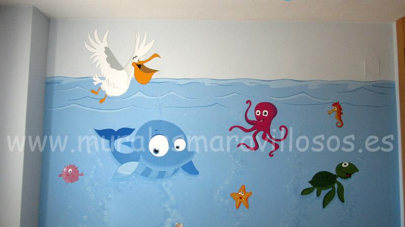 murales peces pulpos pelicanos