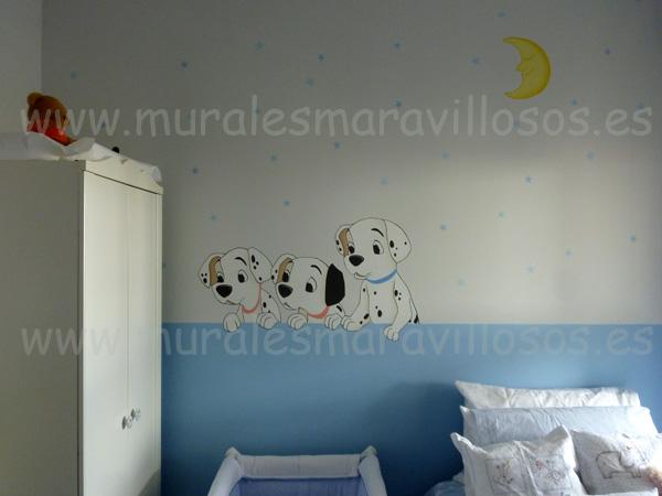 murales infantiles dormitorios bebes dalmatas perros