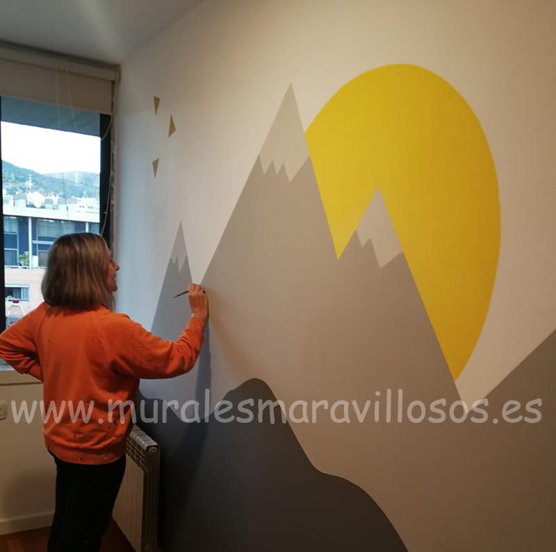 pintura habitaciones cuartos infantiles montañas decoracion escandinava