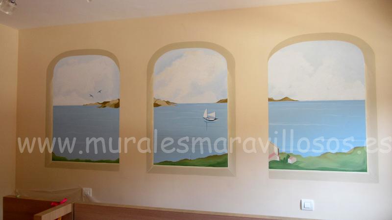 trampantojo mural arcos paisaje pintura dormitorio