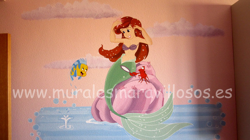 murales la sirenita cuartos niña