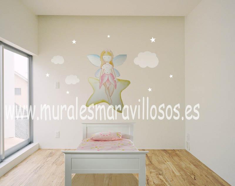 murales de hadas estrellas y nubes