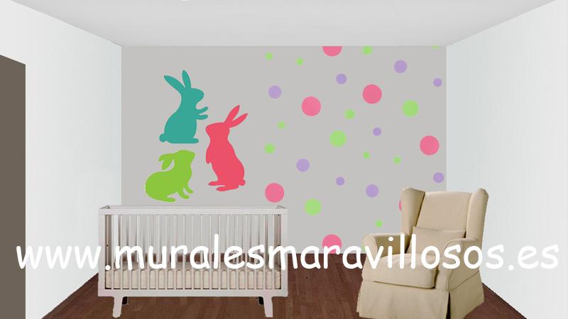murales infantiles conejos circulos colores