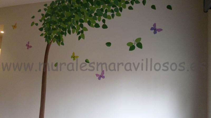 arboles pintados en habitaciones