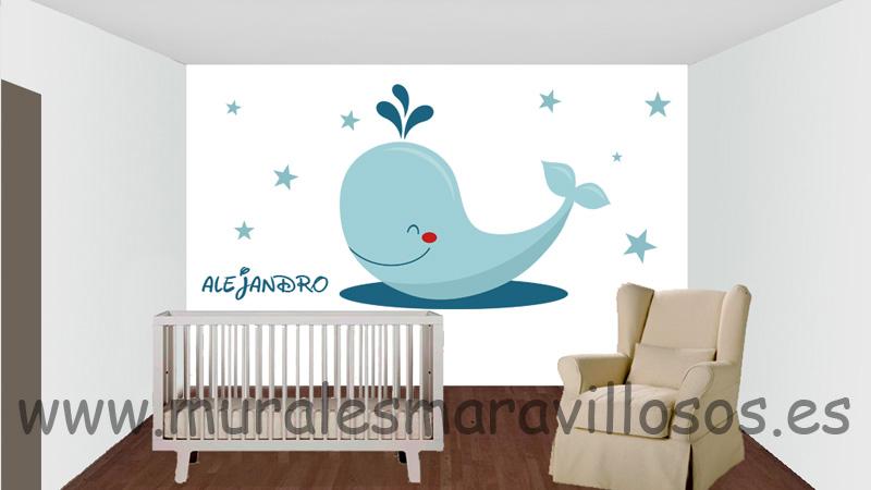 murales INFANTILES ballenas estrellas