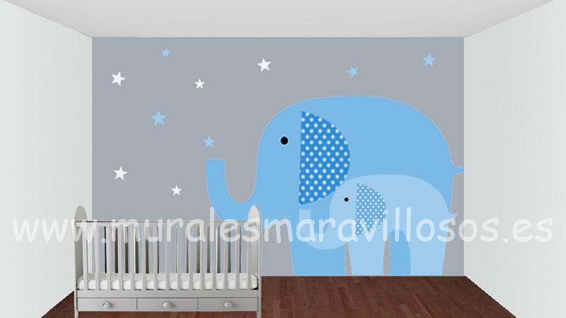 elefantes infantiles murales pintura habitaciones