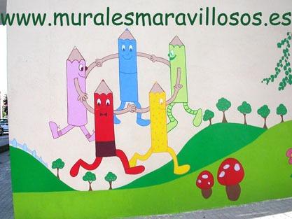 murales pintados en fachadas de colegios y guarderias
