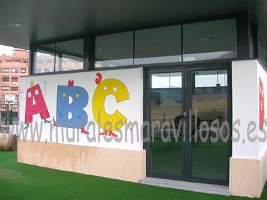 murales pintados en fachadas de colegios y guarderias abecedario