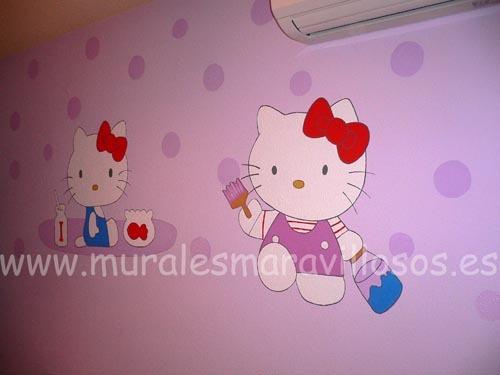 murales de hello kitty sobre pared malva